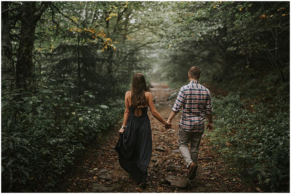 Hiking Engagement Shoot Fall North Carolina