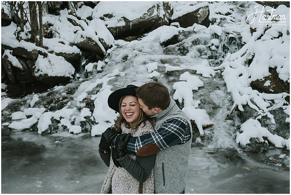 Winter engagement session in snow