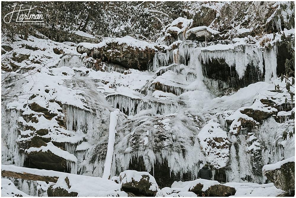 north carolina frozen waterfall