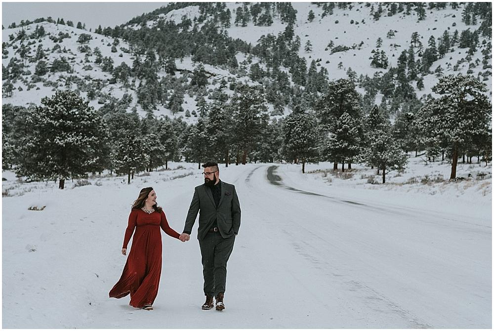 snowy elopement Rocky Mountain National Park