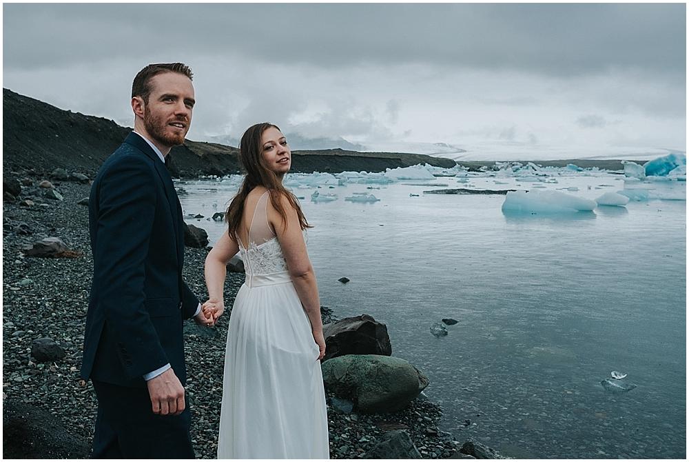 Iceland glacier lagoon wedding