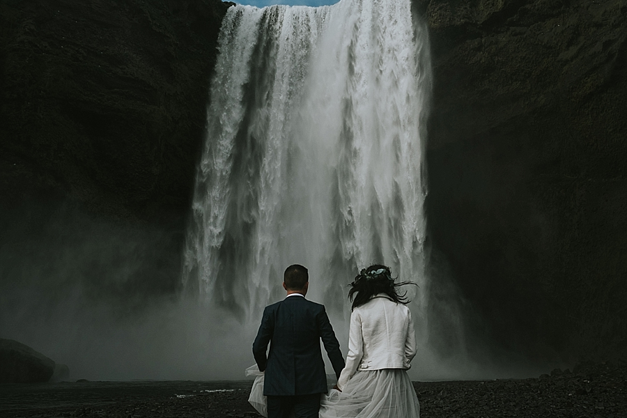 Wedding ceremony and portraits at Skogafoss