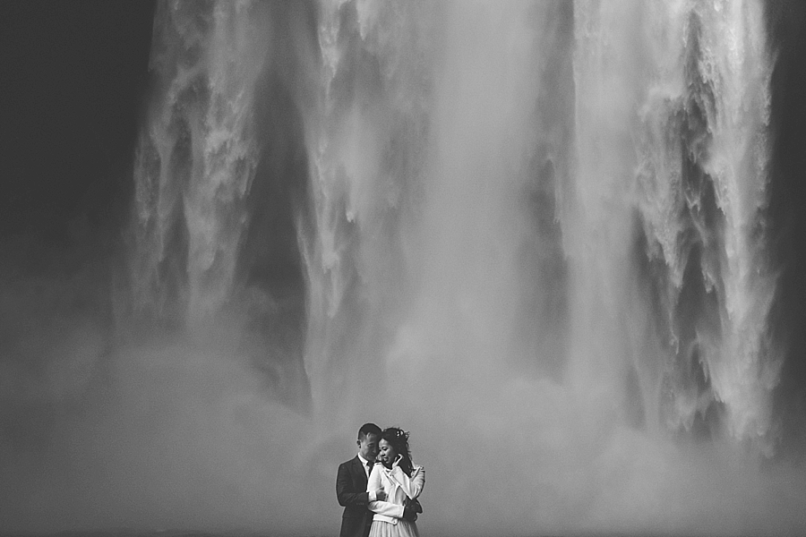 Iceland waterfall wedding at Skogafoss